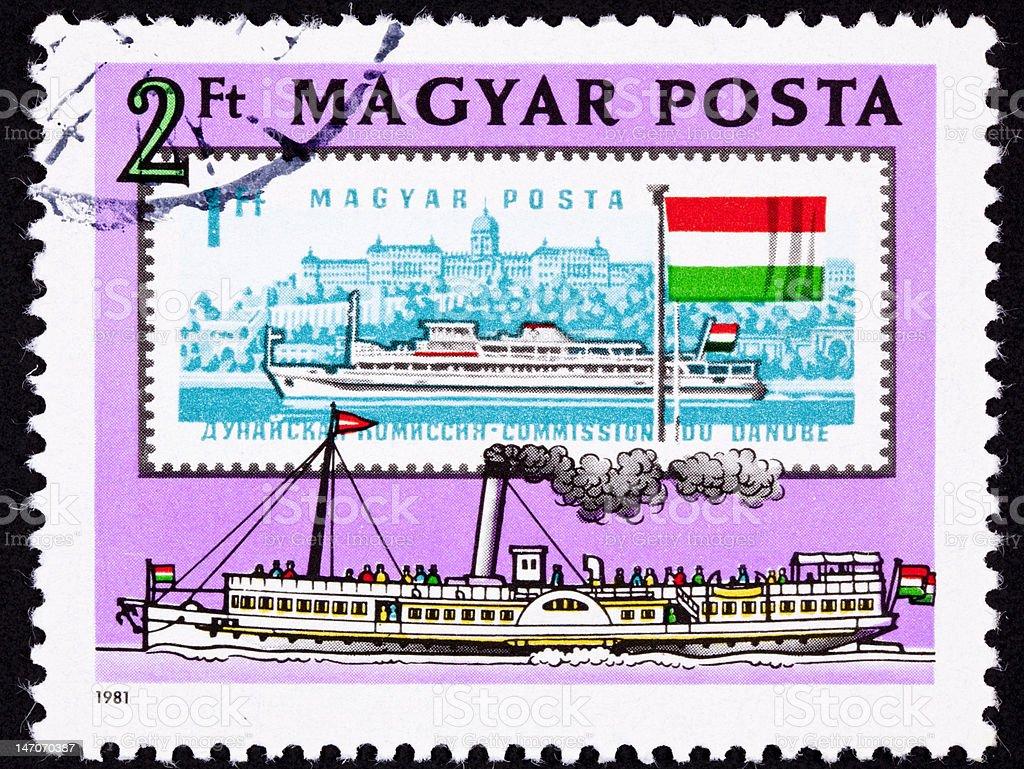 Canceled Hungarian Postage Stamp Old New Boats Danube Buda Castle vector art illustration