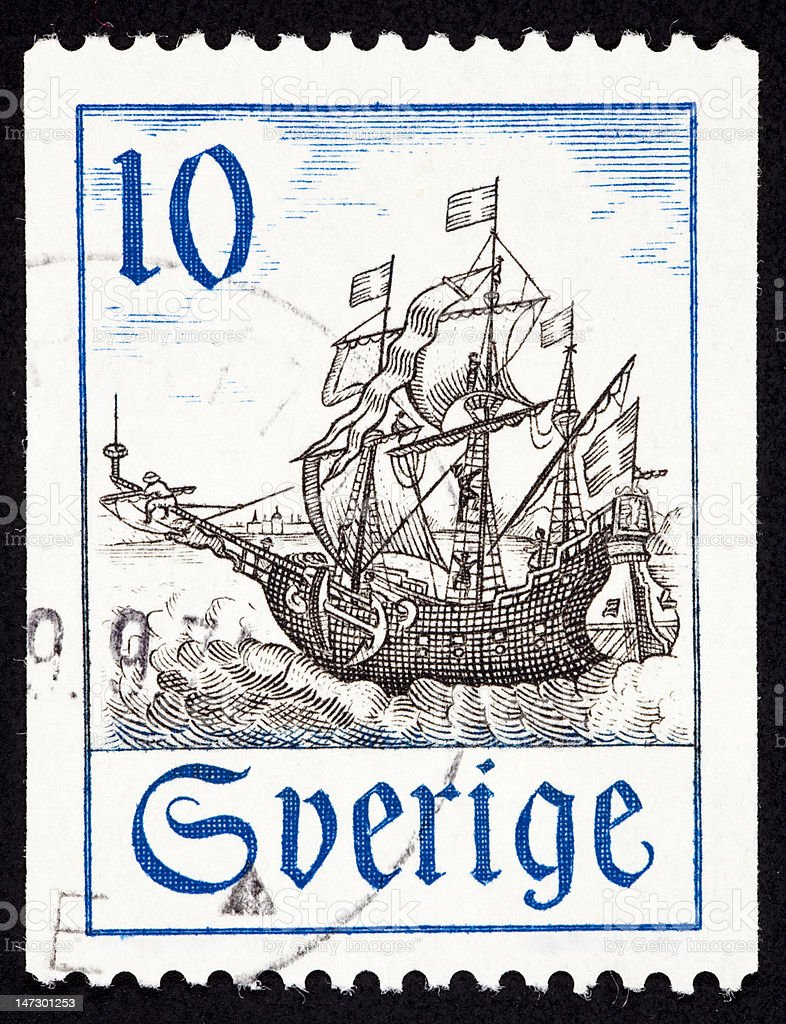 Canceled Sweden Postage Stamp Old Swedish Sailing Ship Flag Ocean royalty-free stock vector art