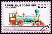 Canceled Togo Postage Stamp Old English Railroad Steam Engine Locomotive
