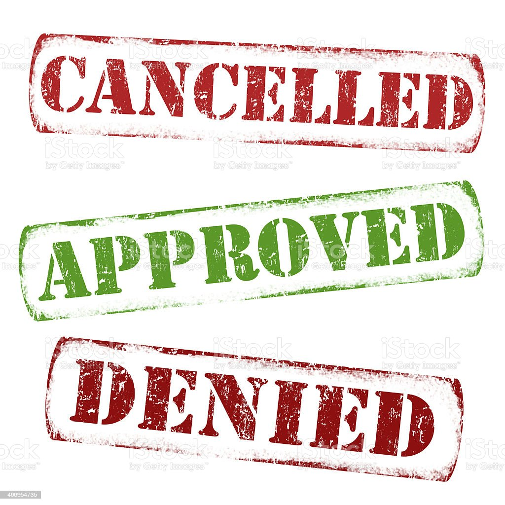 Cancelled, approved, denied stamps royalty-free stock vector art