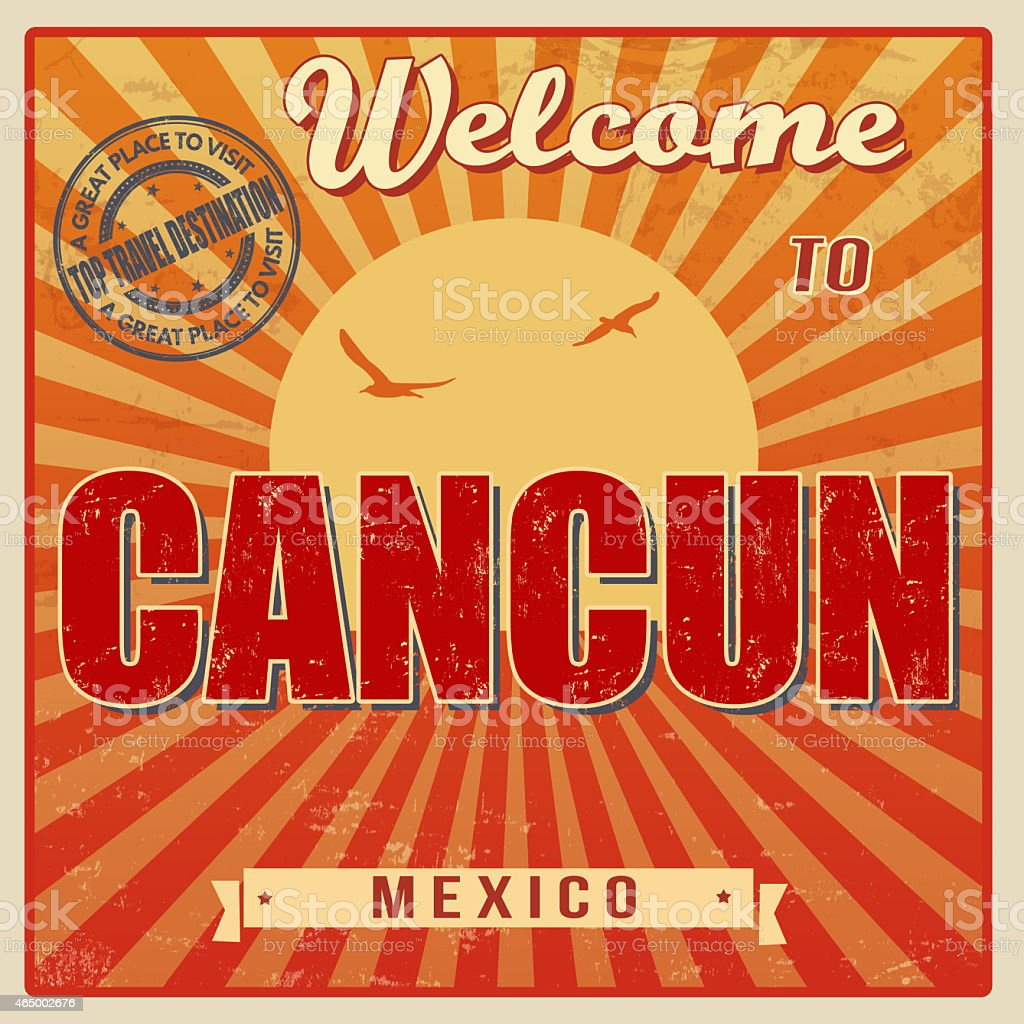 Cancun, Mexico vintage poster vector art illustration