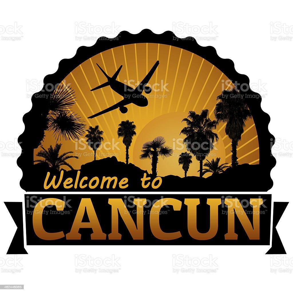 Cancun travel label or stamp vector art illustration