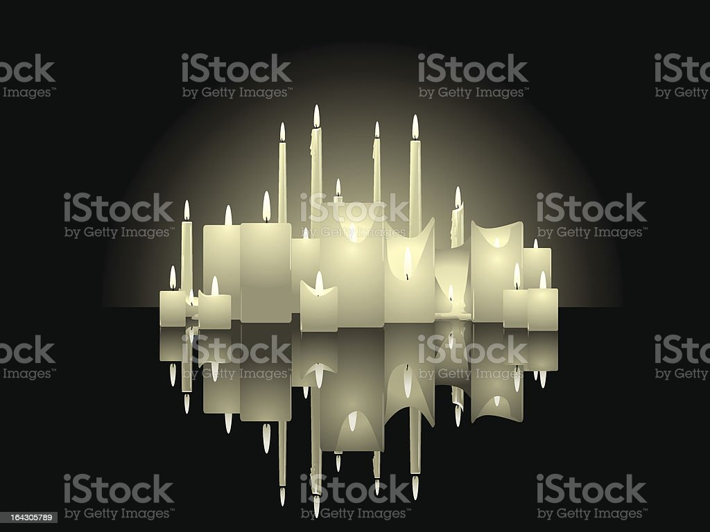 Candle background with reflections vector art illustration