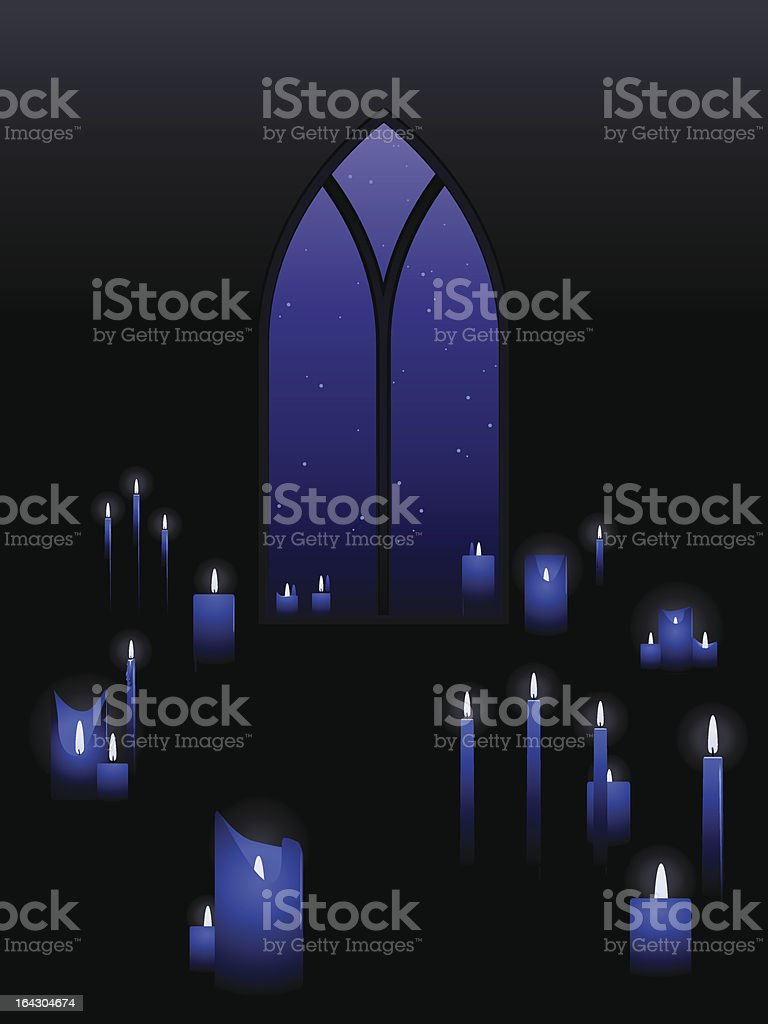 Candles with a window vector art illustration