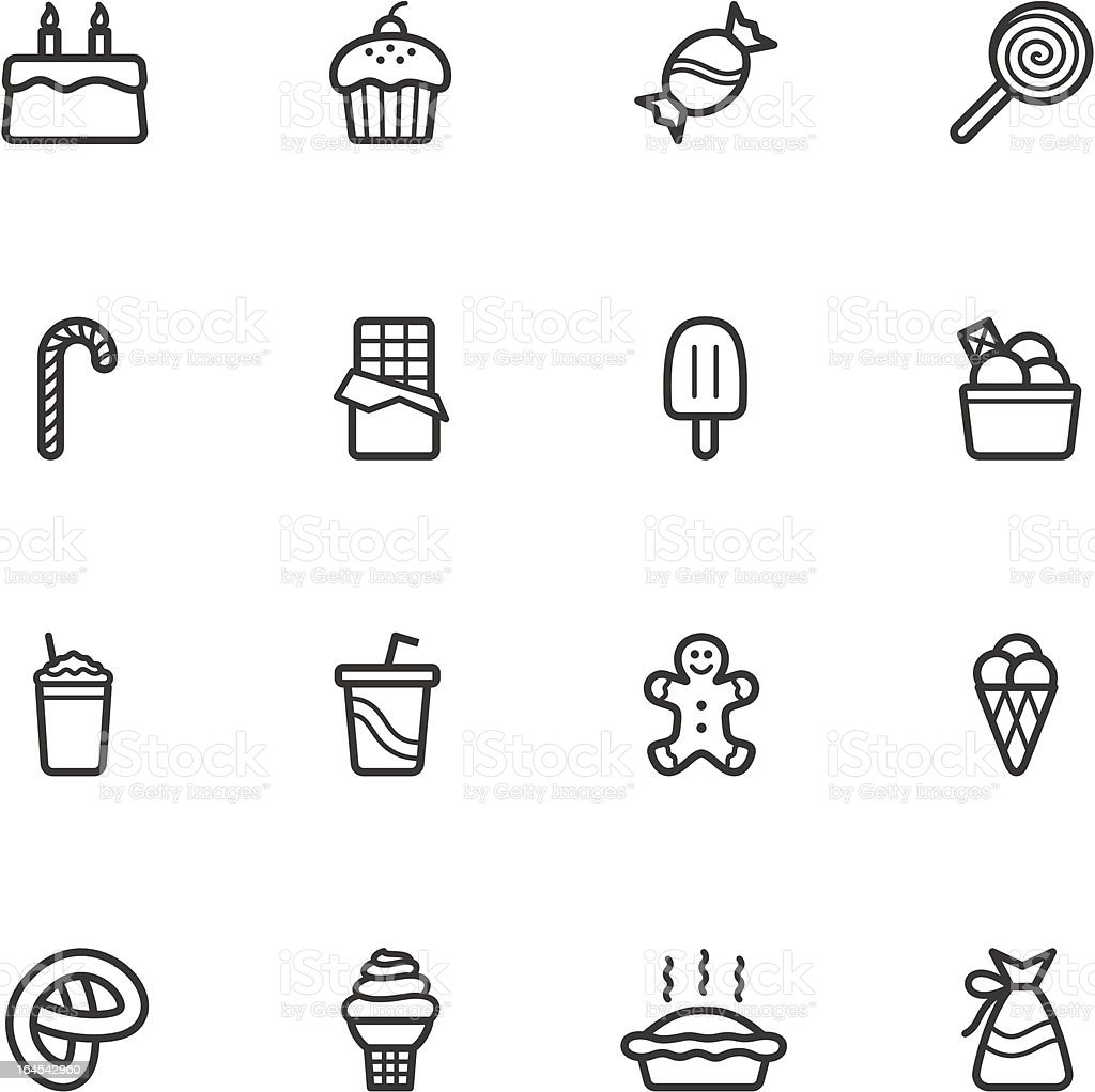 Candy and Pastry Icons vector art illustration