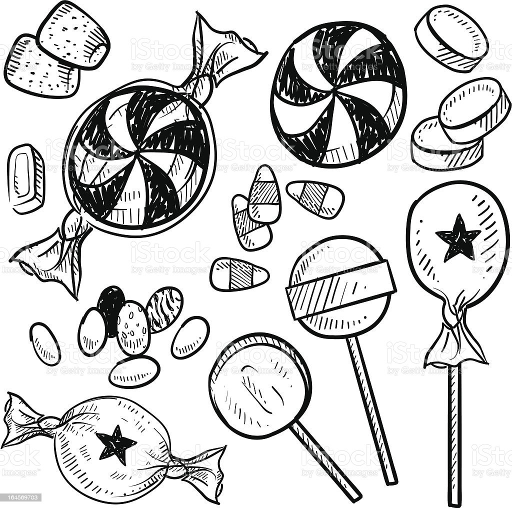 Candy assortment vector sketch royalty-free stock vector art