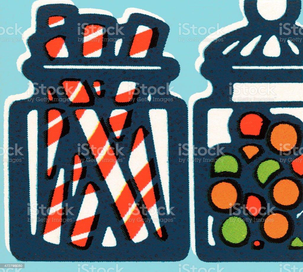 Candy jars vector art illustration