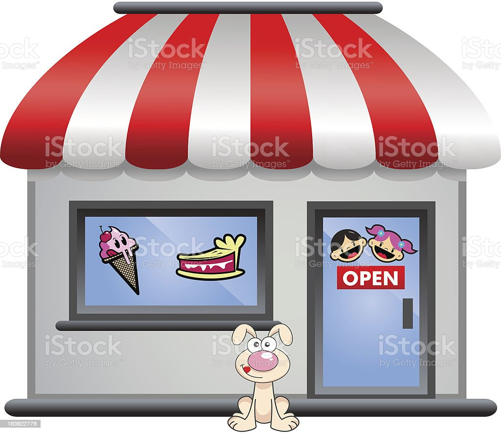 candy store with puppy in front royalty-free stock vector art