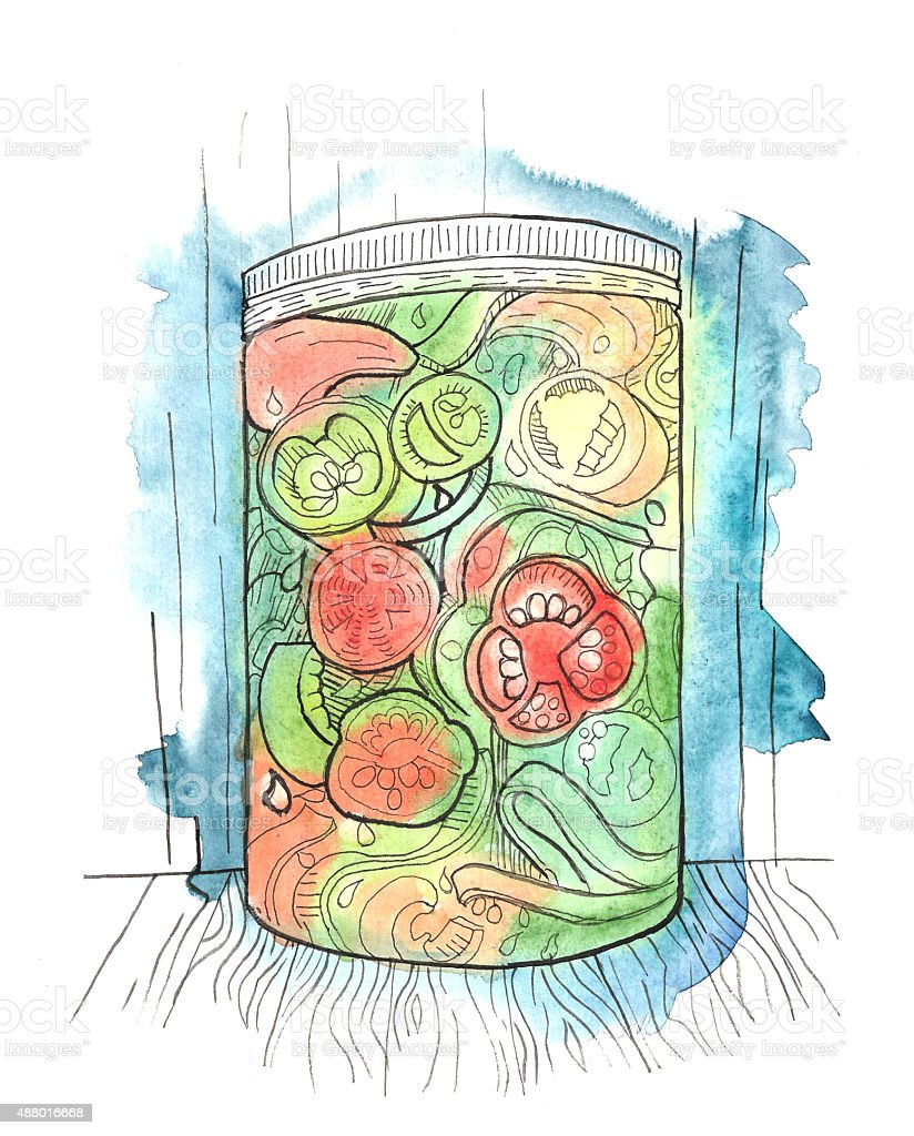 Canned Jar of Peppers vector art illustration