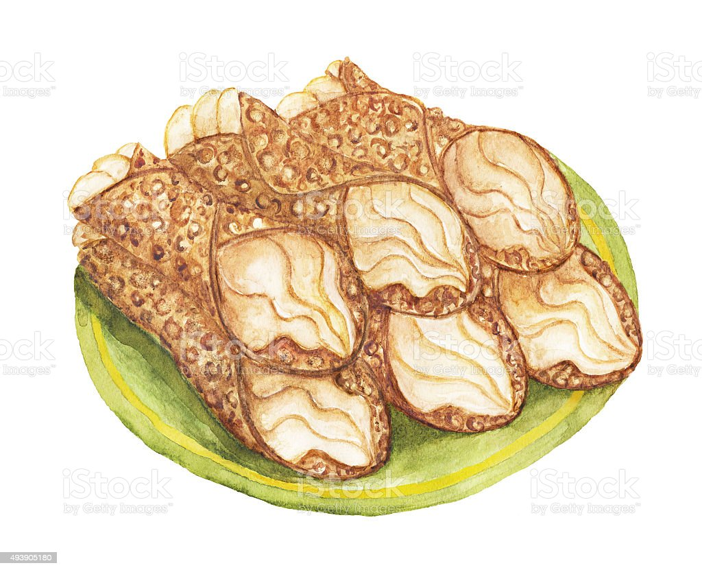 Cannoli dessert – watercolor illustration vector art illustration