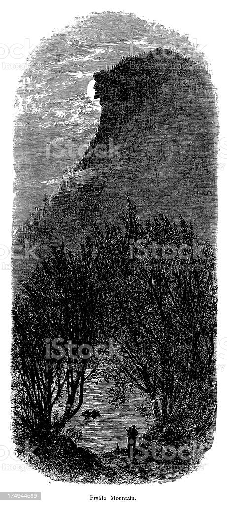 Cannon Mountain, New Hampshire (1872) royalty-free stock vector art
