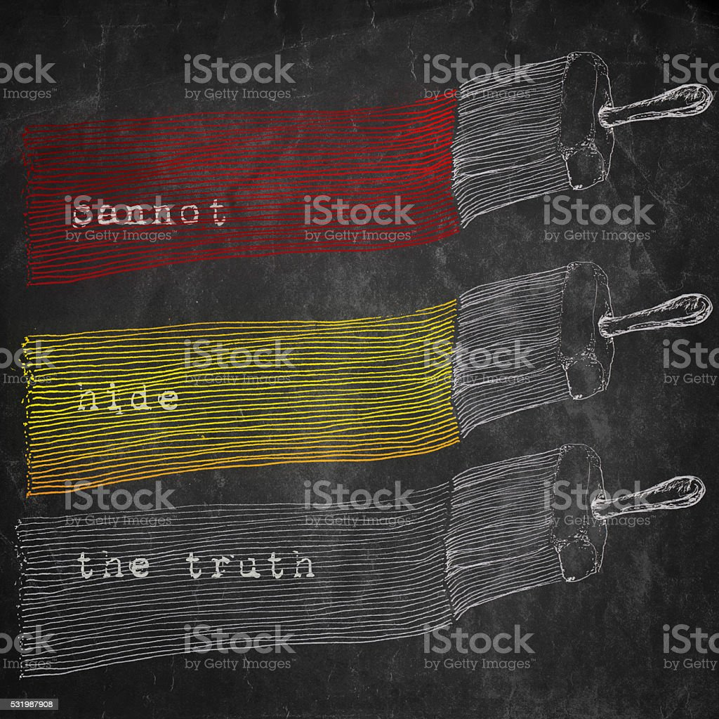 Cannot hide the truth, metaphorical artistic illustration stock photo