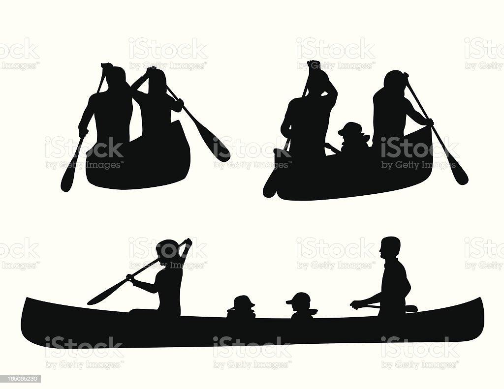 Canoe Kids Vector Silhouette vector art illustration