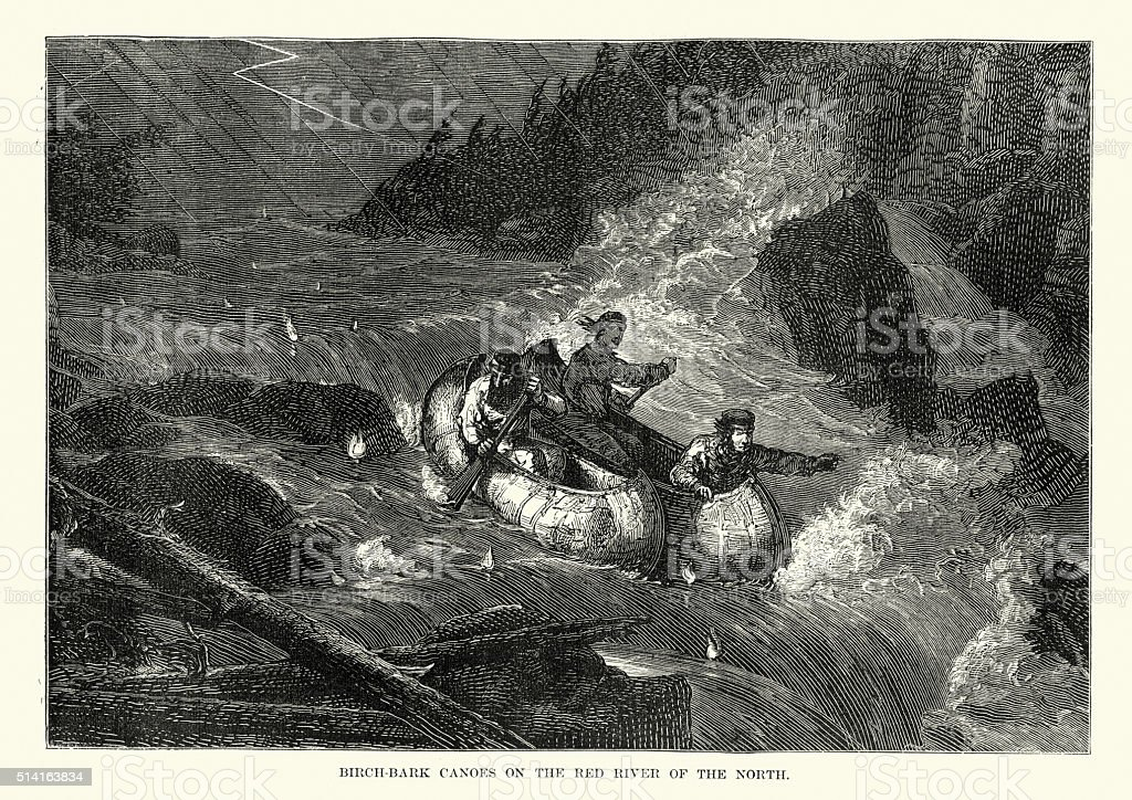 Canoes on Red River of the North, 19th Century vector art illustration