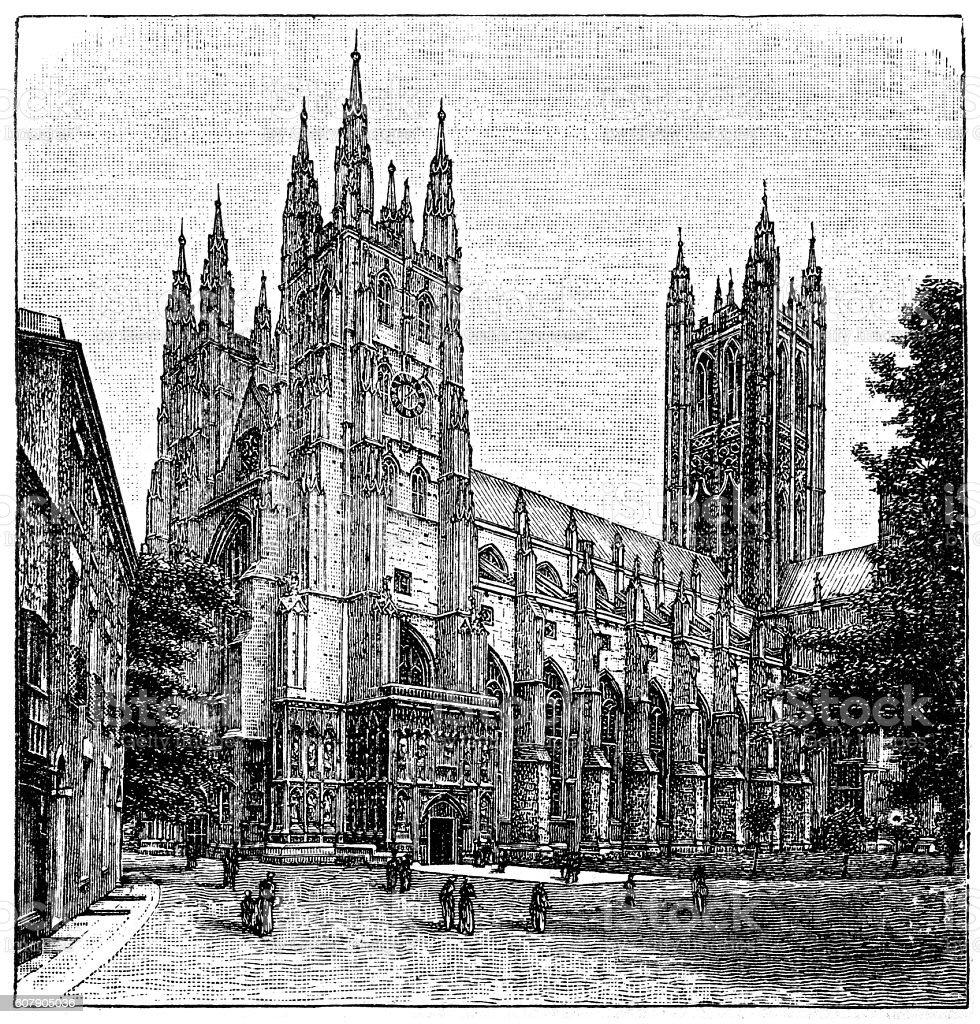 Canterbury Cathedral, Kent,England vector art illustration