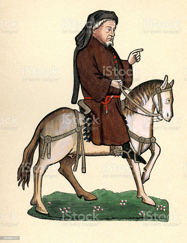 Canterbury Tales - Geoffrey Chaucer as a pilgrim on horseback royalty-free stock vector art