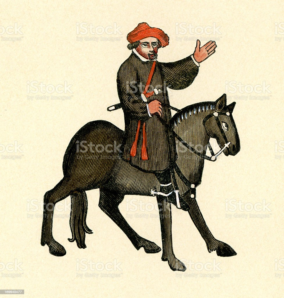 Canterbury Tales - The Shipman vector art illustration