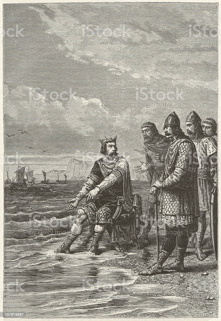 Canute the Great (c. 995-1035), wood engraving, published in 1881 vector art illustration