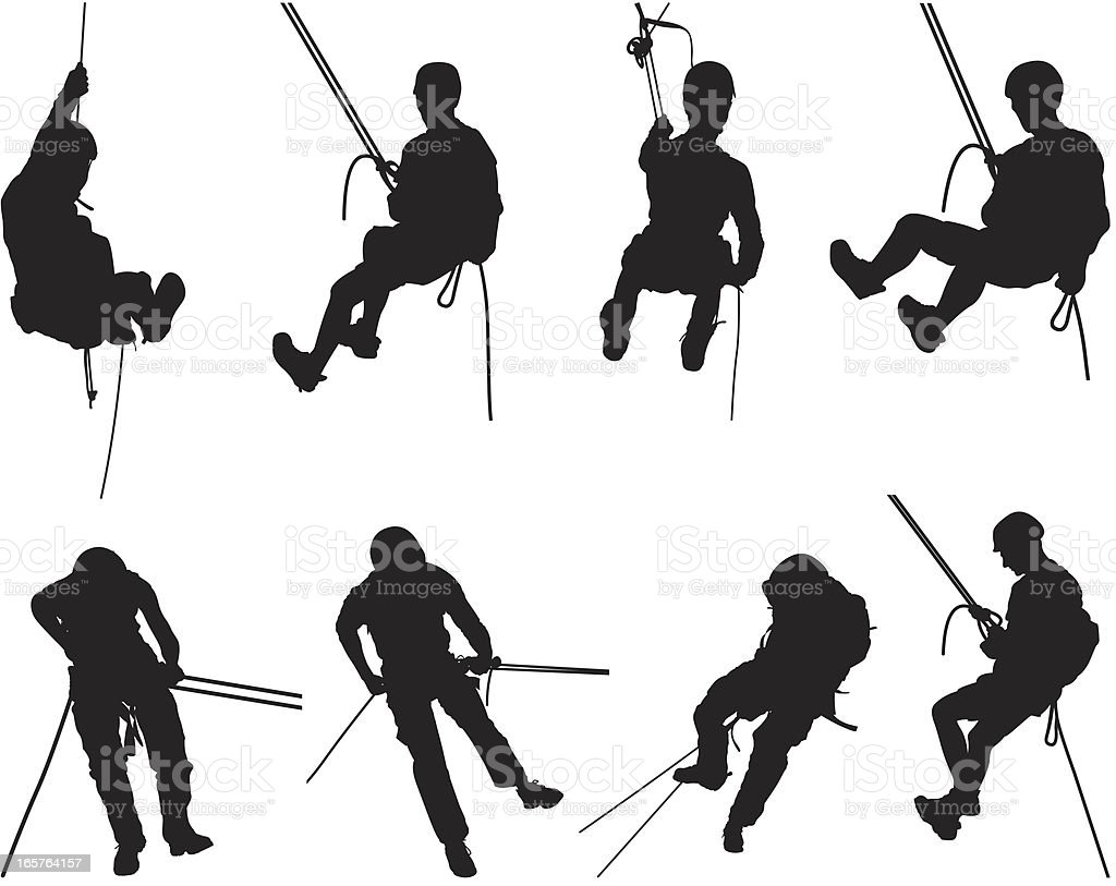 Canyoning mountain climbing silhouettes vector art illustration