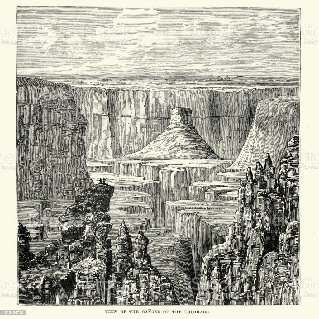 Canyons of Colorado in the 19th Century vector art illustration