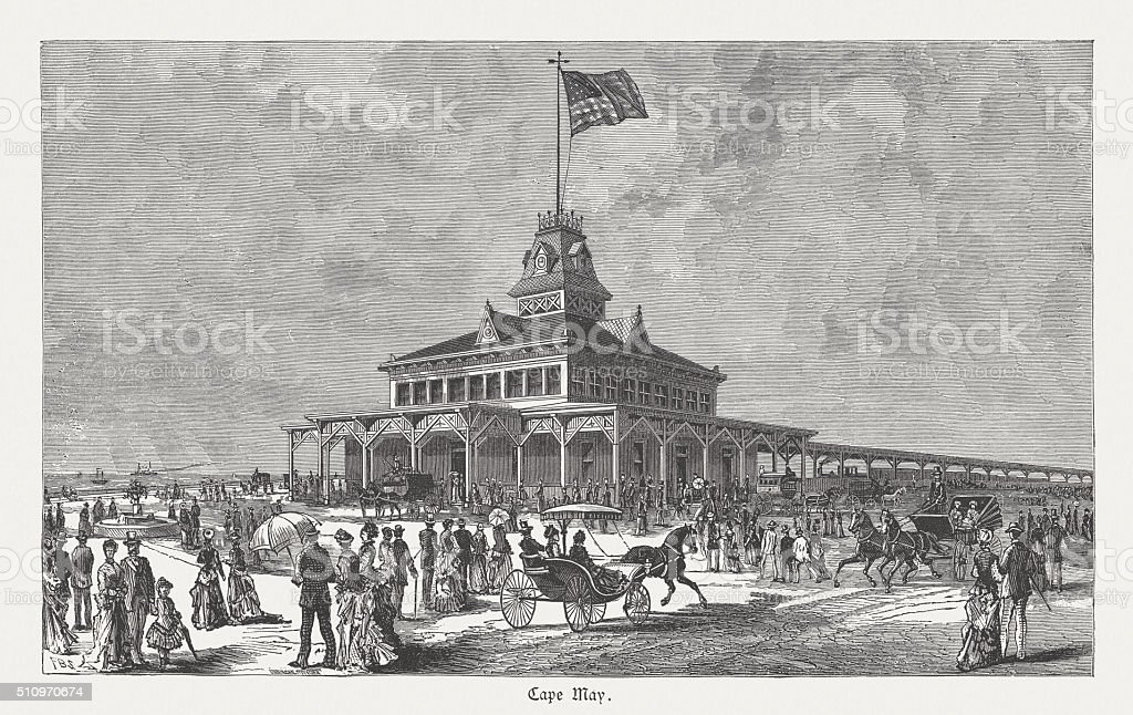 Cape May, Railway station seaside, wood engraving, published in 1880 vector art illustration