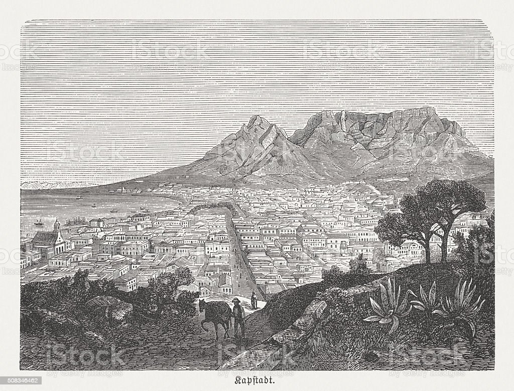 Cape Town in South Africa, wood engraving, published in 1882 vector art illustration