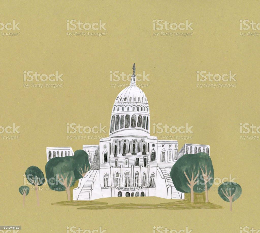Capitol Building, Washington in United States vector art illustration
