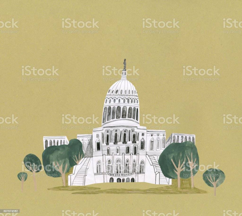 Capitol Building, Washington in United States vector art illustration