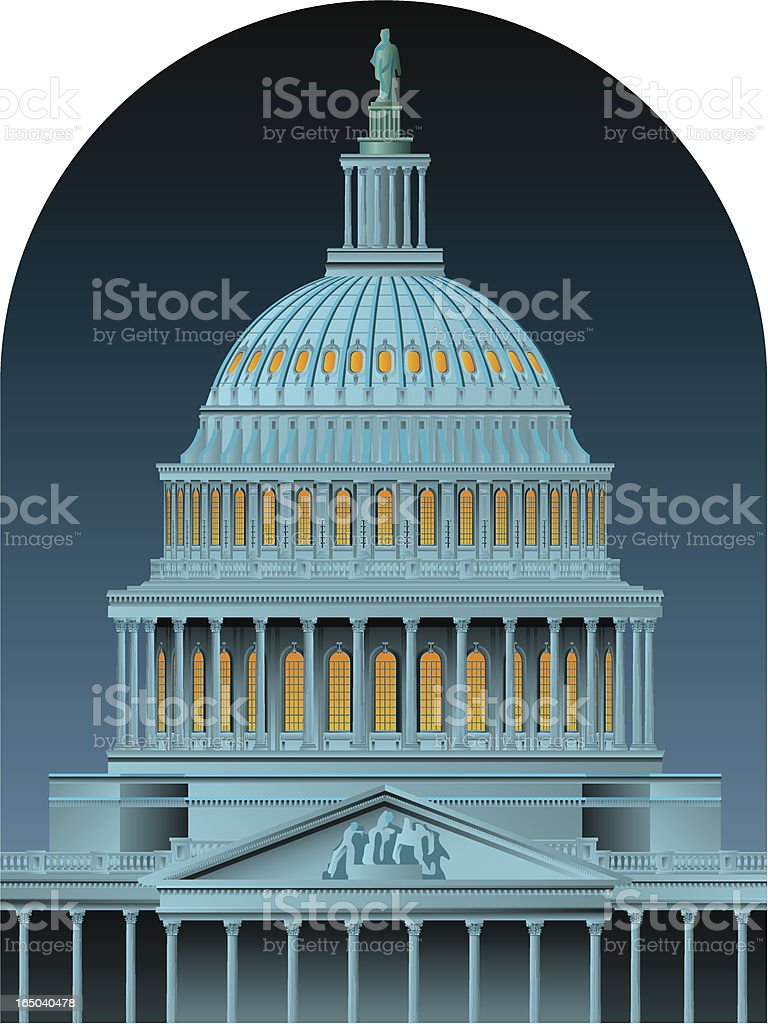 capitol dome at night royalty-free stock vector art