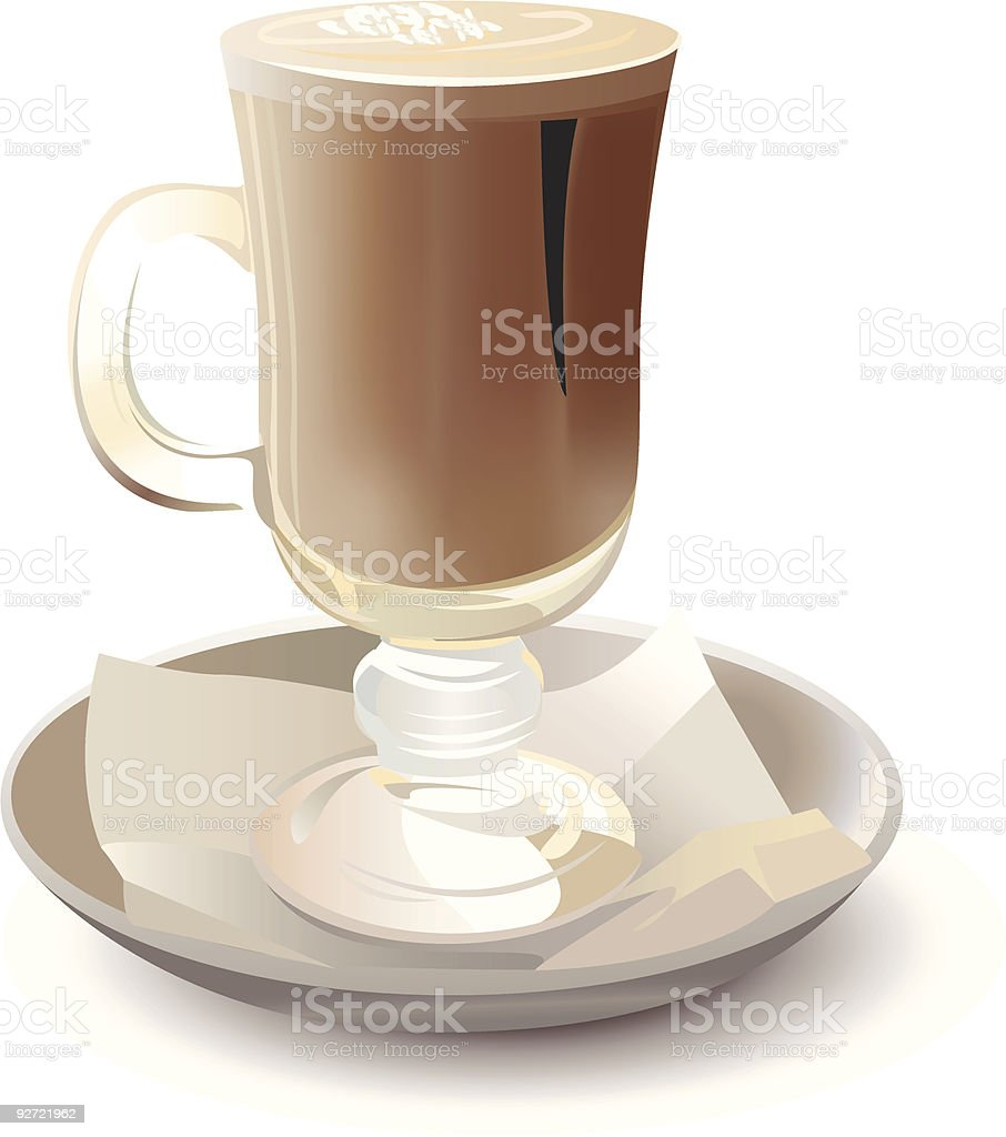 cappuchino in glass vector art illustration