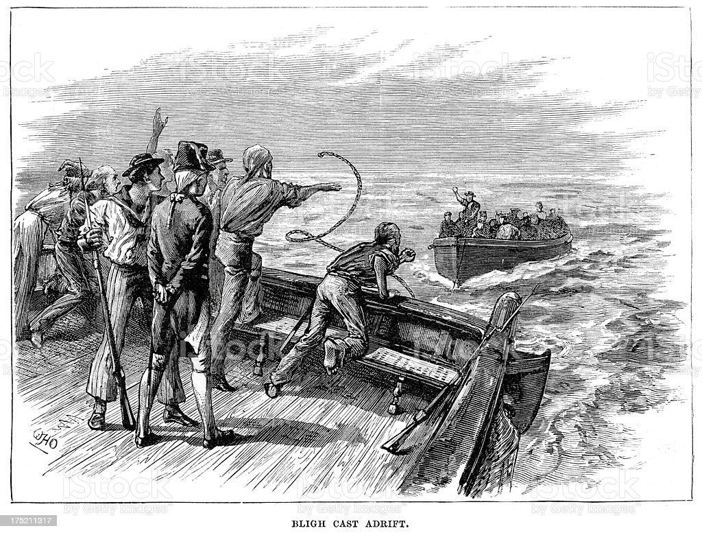 Captain Bligh Cast Adrift royalty-free stock vector art