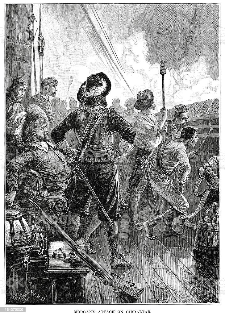 Captain Henry Morgan's attack on Gibraltar royalty-free stock vector art