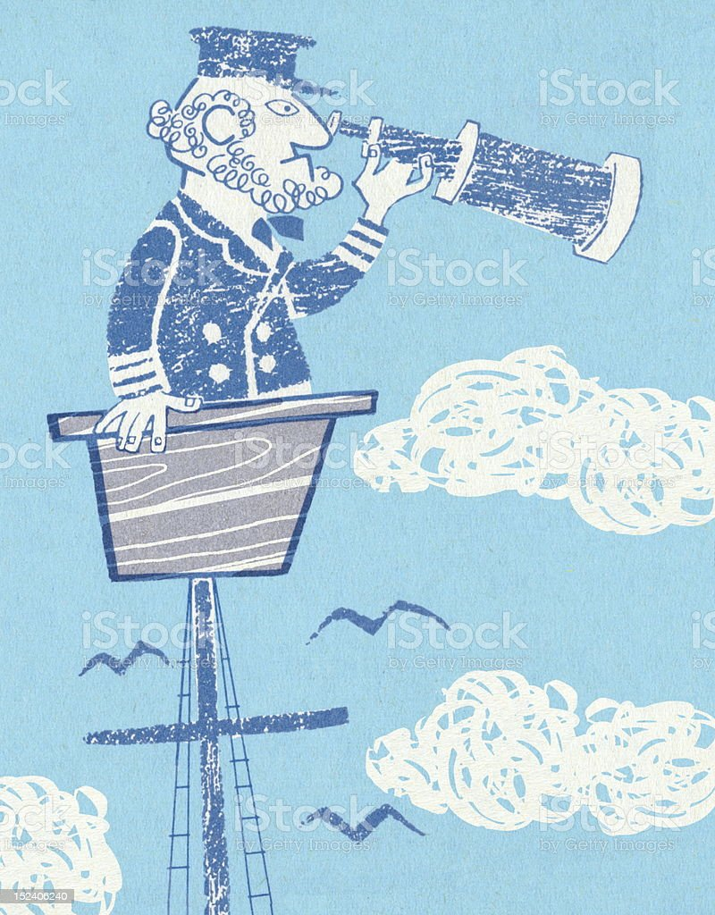 Captain in Crow's Nest royalty-free stock vector art