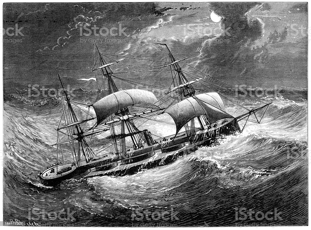 HMS Captain in the Bay of Biscay vector art illustration