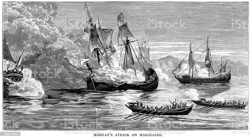 Captain Morgan's attack on Maracaibo royalty-free stock vector art