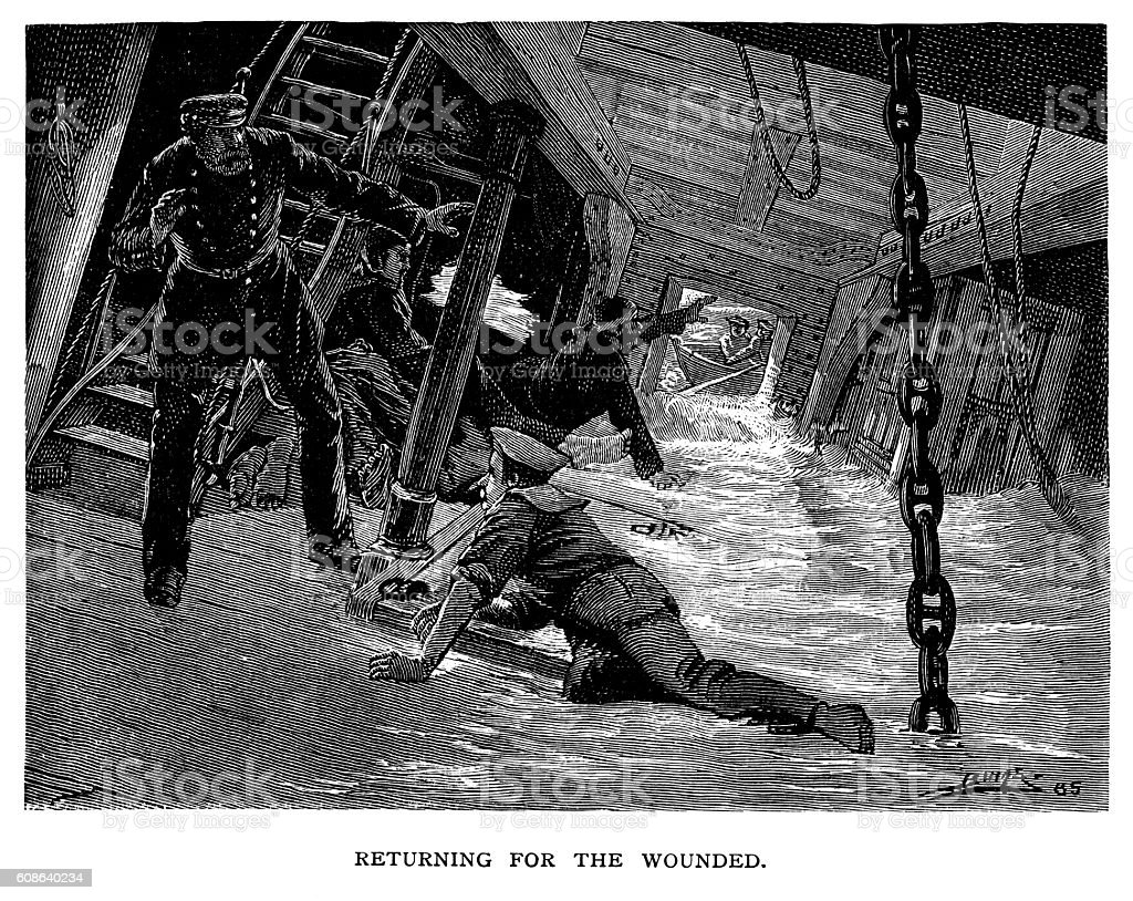 Captaing saving wpounded sailors on sinking warship vector art illustration