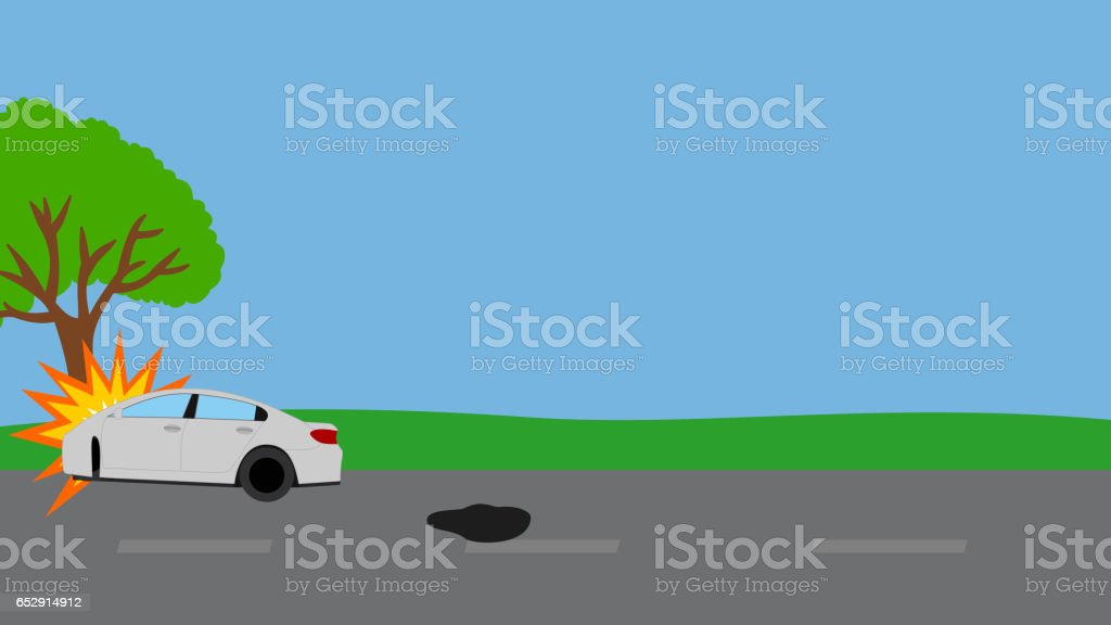 car accident on the road vector art illustration