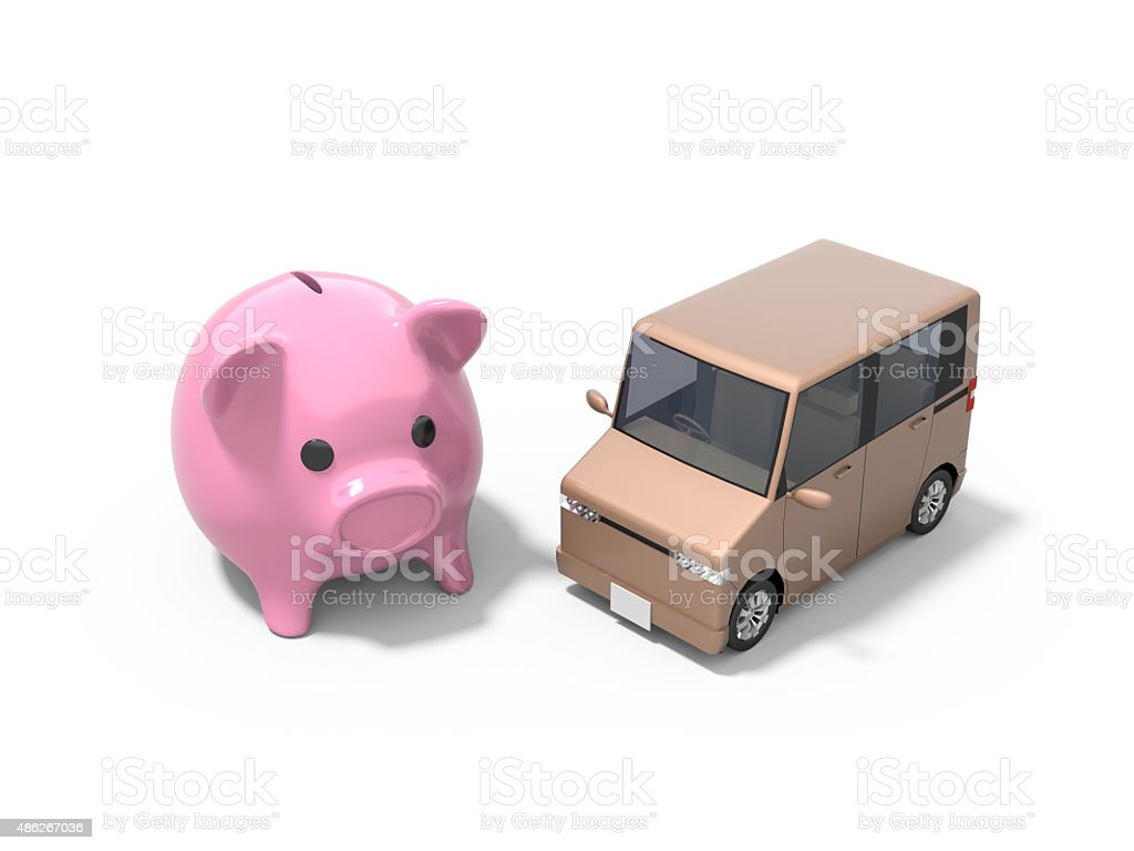 Car and Money vector art illustration