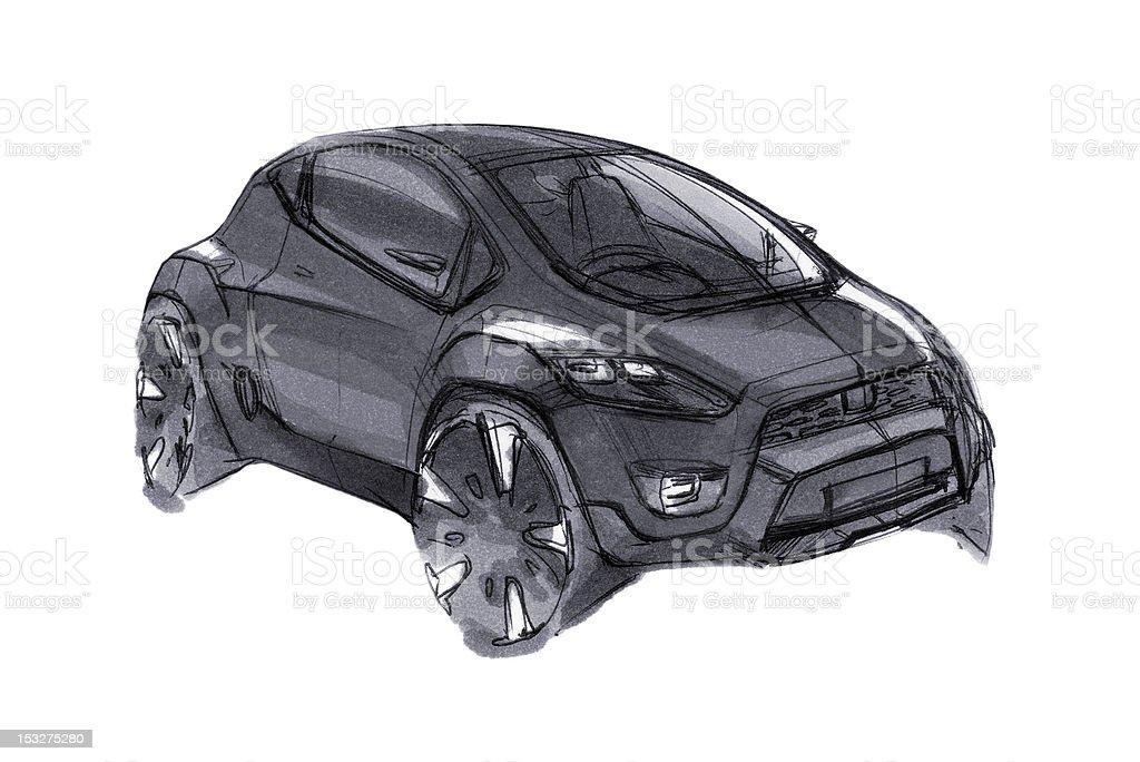 Car Concept Design Sketch royalty-free stock vector art