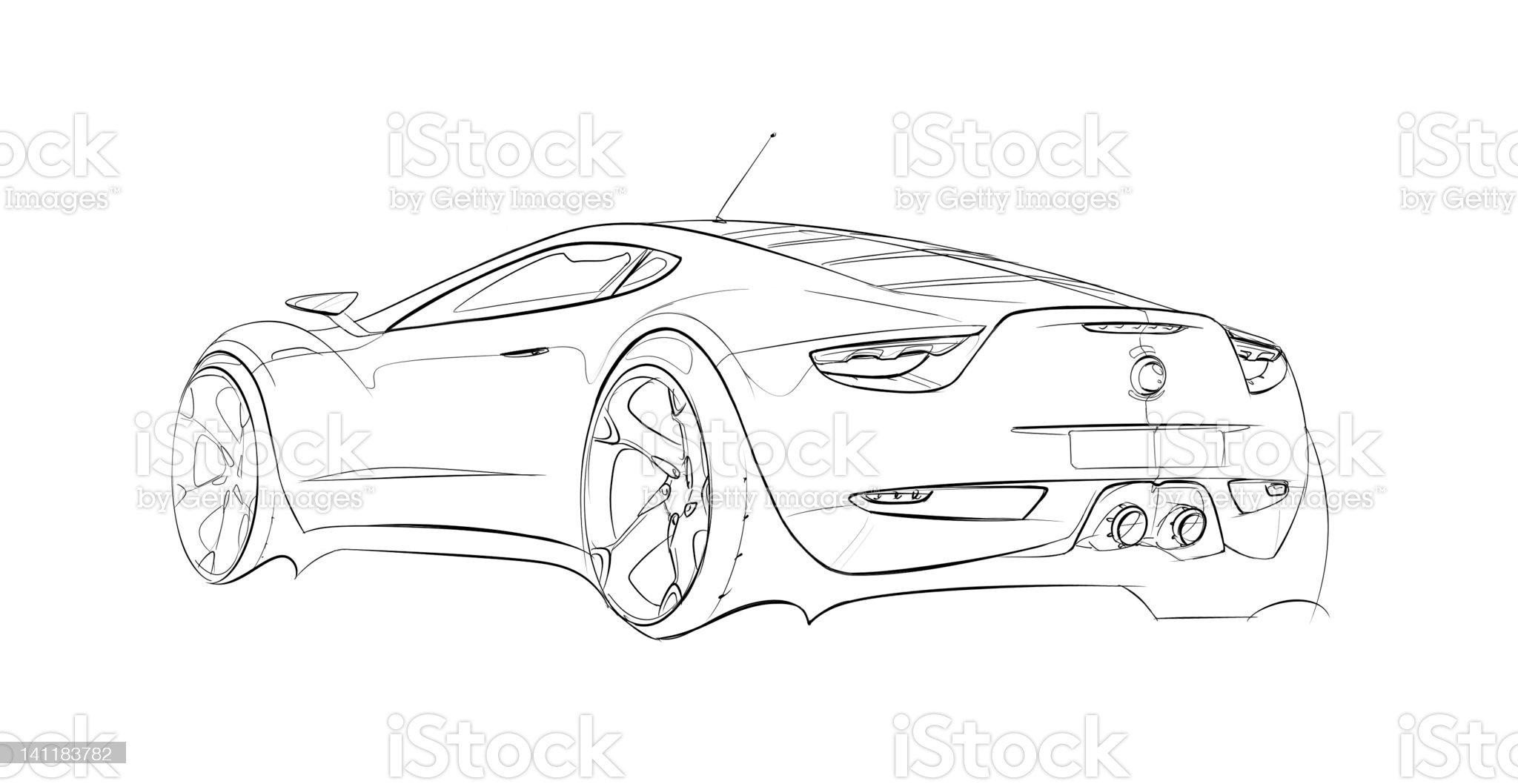 Car Concept Line Drawing royalty-free stock vector art