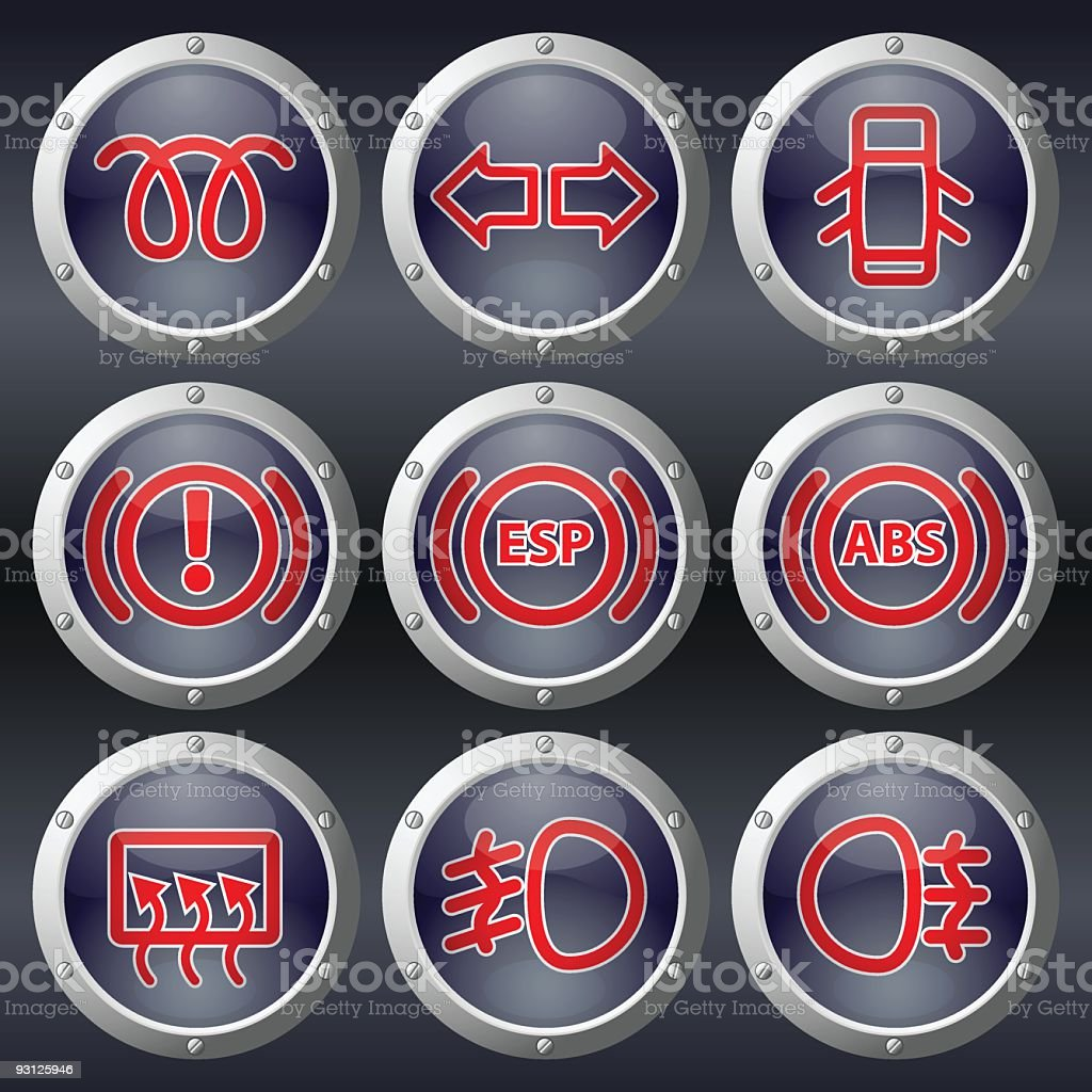 Car Dashboard Buttons royalty-free stock vector art