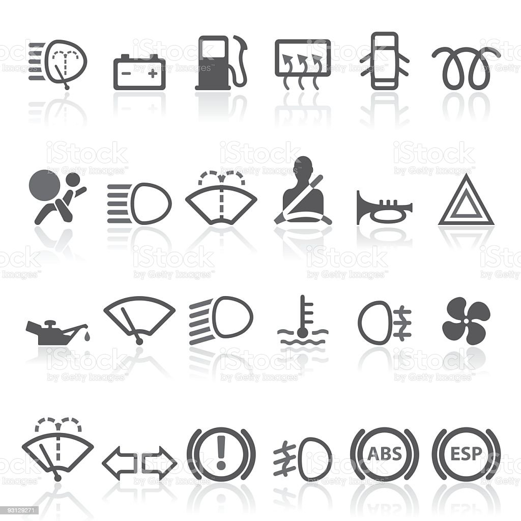 Car Dashboard - simple icons set. vector art illustration