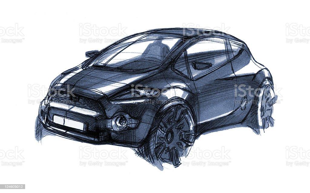 Car Design Sketch vector art illustration