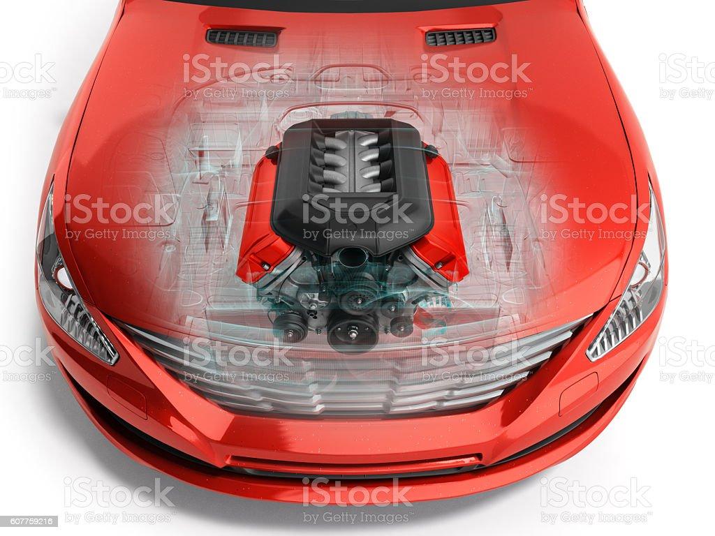car engine inside the car 3d render on white vector art illustration