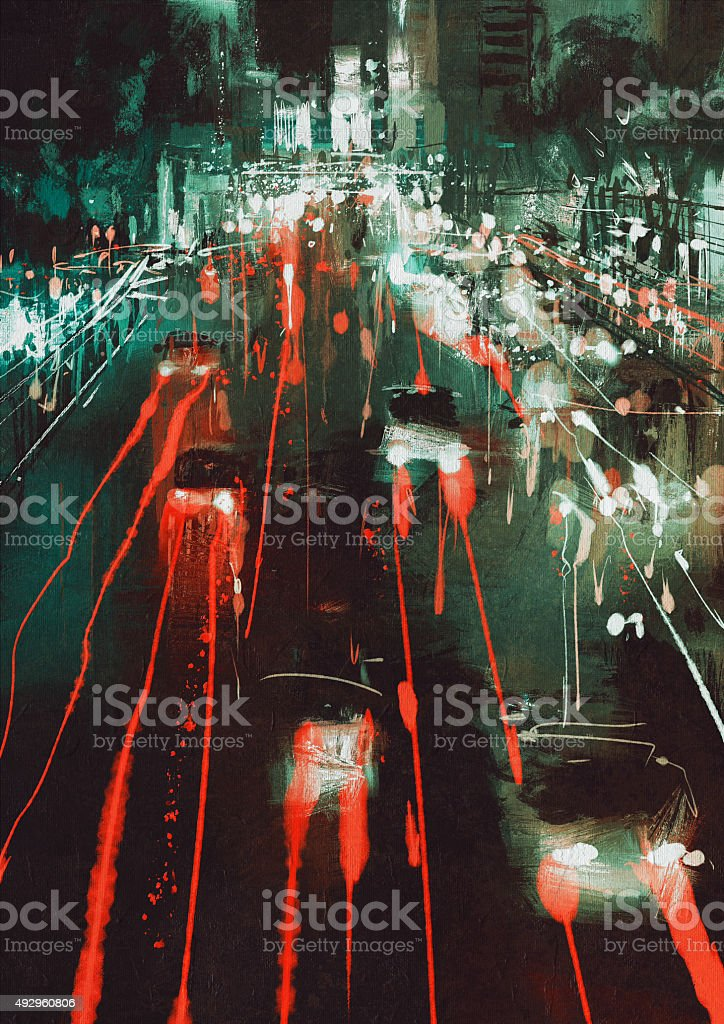 car headlights and taillights on a city street at night vector art illustration