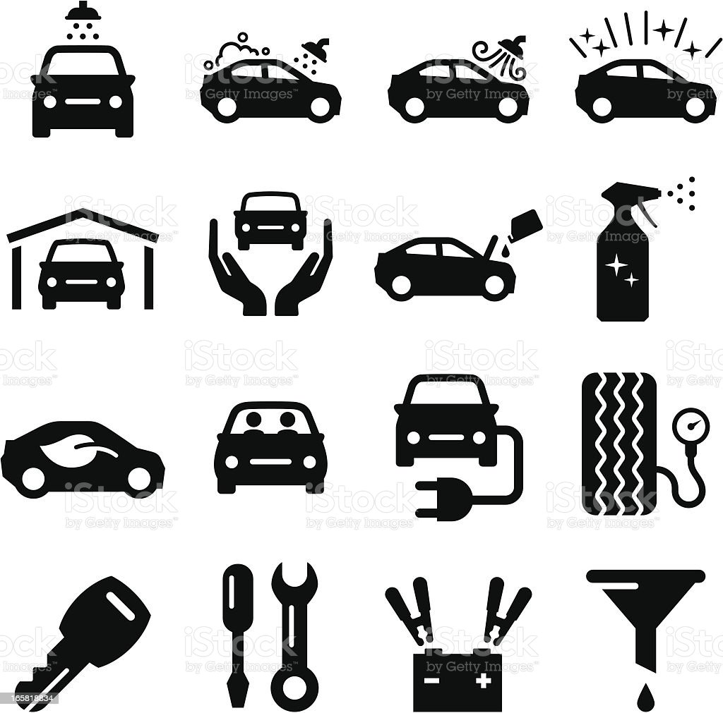 Car Maintenance - Black Series vector art illustration