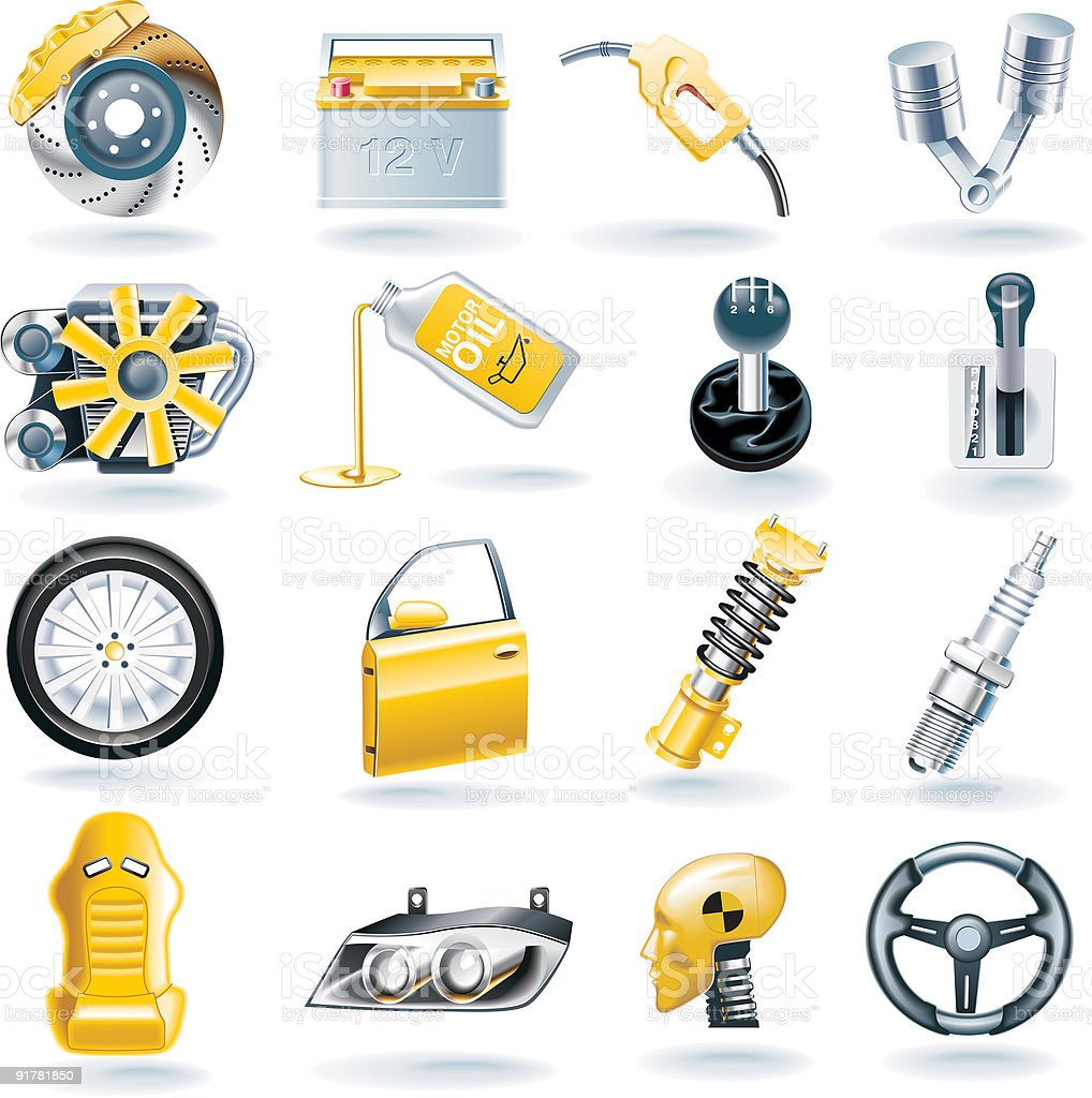 Car parts icon set vector art illustration