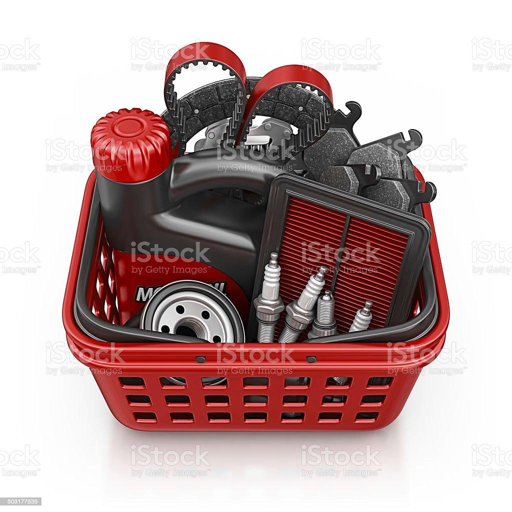car parts shopping vector art illustration
