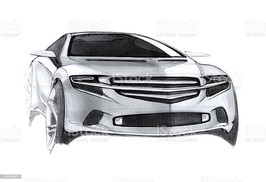 Car sketch drawing royalty-free stock vector art