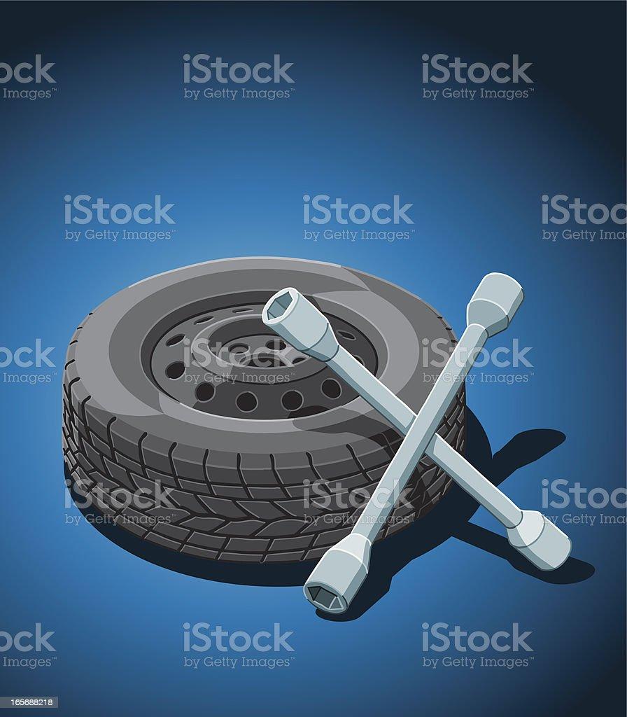 Car Tire Change vector art illustration